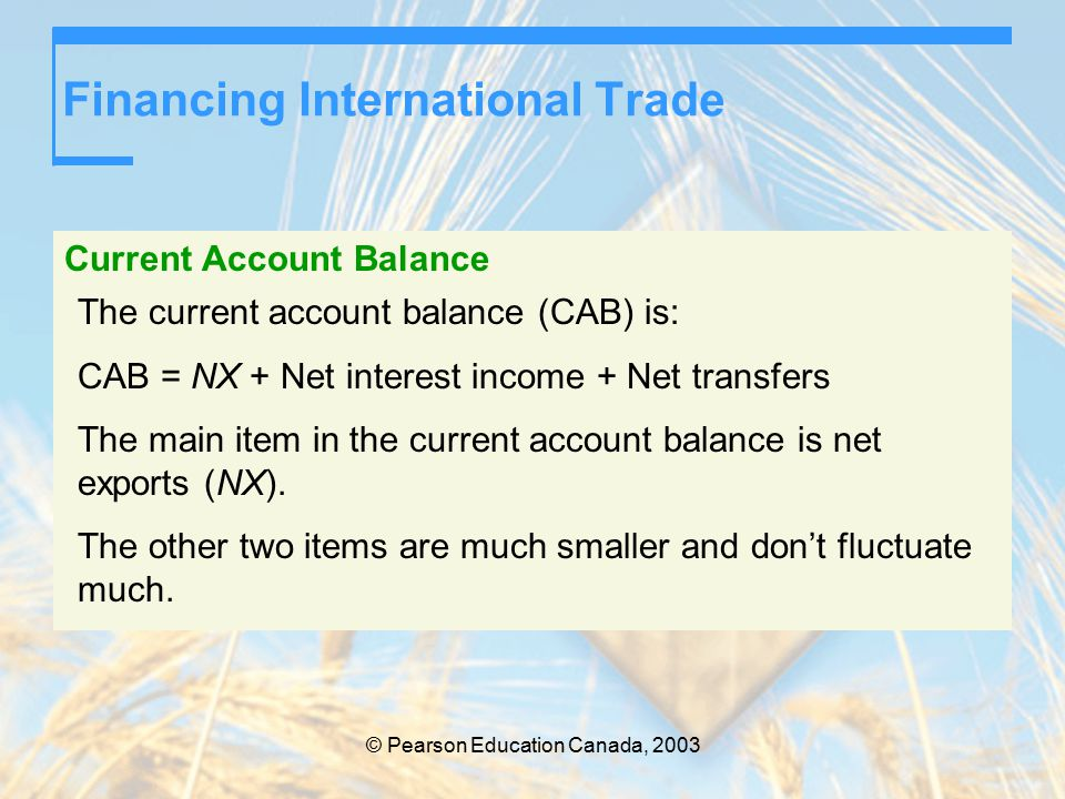 © Pearson Education Canada, 2003 Financing International Trade Current Account Balance The current account balance (CAB) is: CAB = NX + Net interest income + Net transfers The main item in the current account balance is net exports (NX).