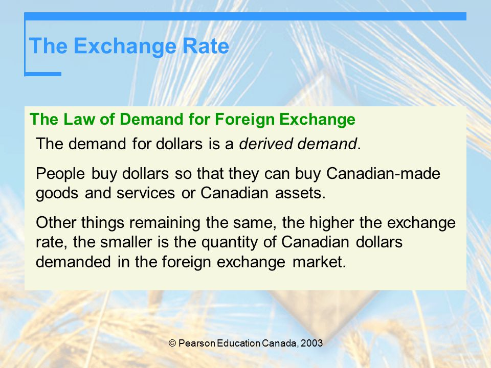 © Pearson Education Canada, 2003 The Exchange Rate The Law of Demand for Foreign Exchange The demand for dollars is a derived demand.