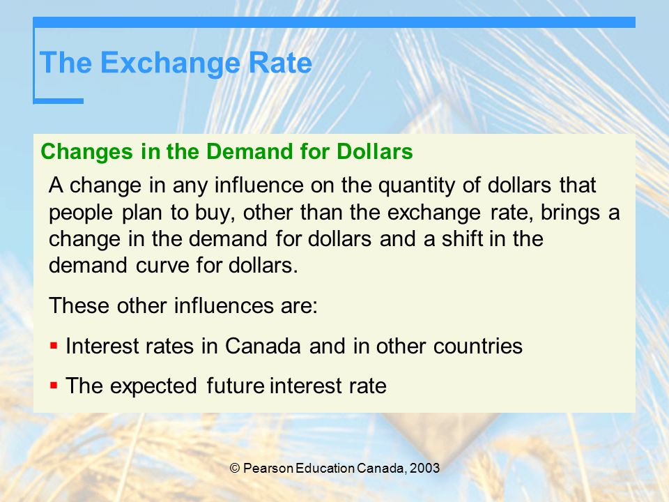 The Exchange Rate Changes in the Demand for Dollars A change in any influence on the quantity of dollars that people plan to buy, other than the exchange rate, brings a change in the demand for dollars and a shift in the demand curve for dollars.