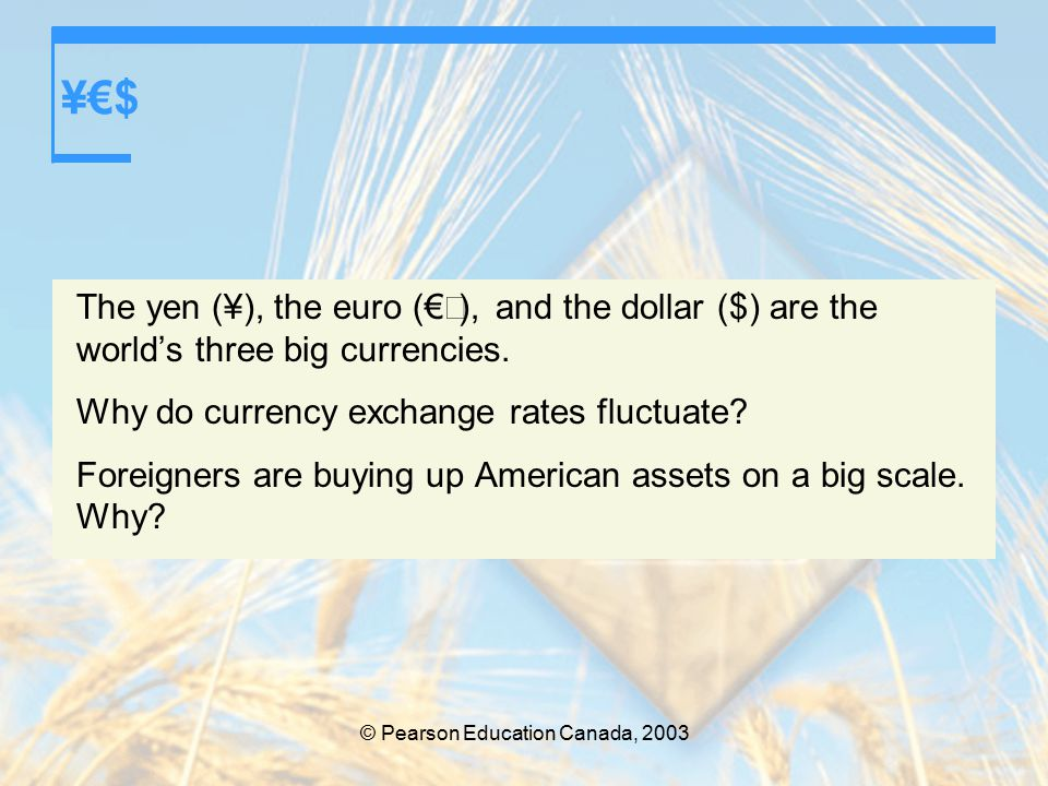 © Pearson Education Canada, 2003 ¥€$ The yen (¥), the euro (€  ), and the dollar ($) are the world's three big currencies.