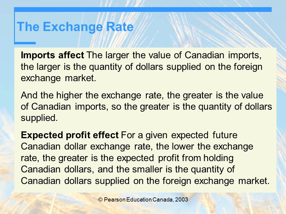 © Pearson Education Canada, 2003 The Exchange Rate Imports affect The larger the value of Canadian imports, the larger is the quantity of dollars supplied on the foreign exchange market.
