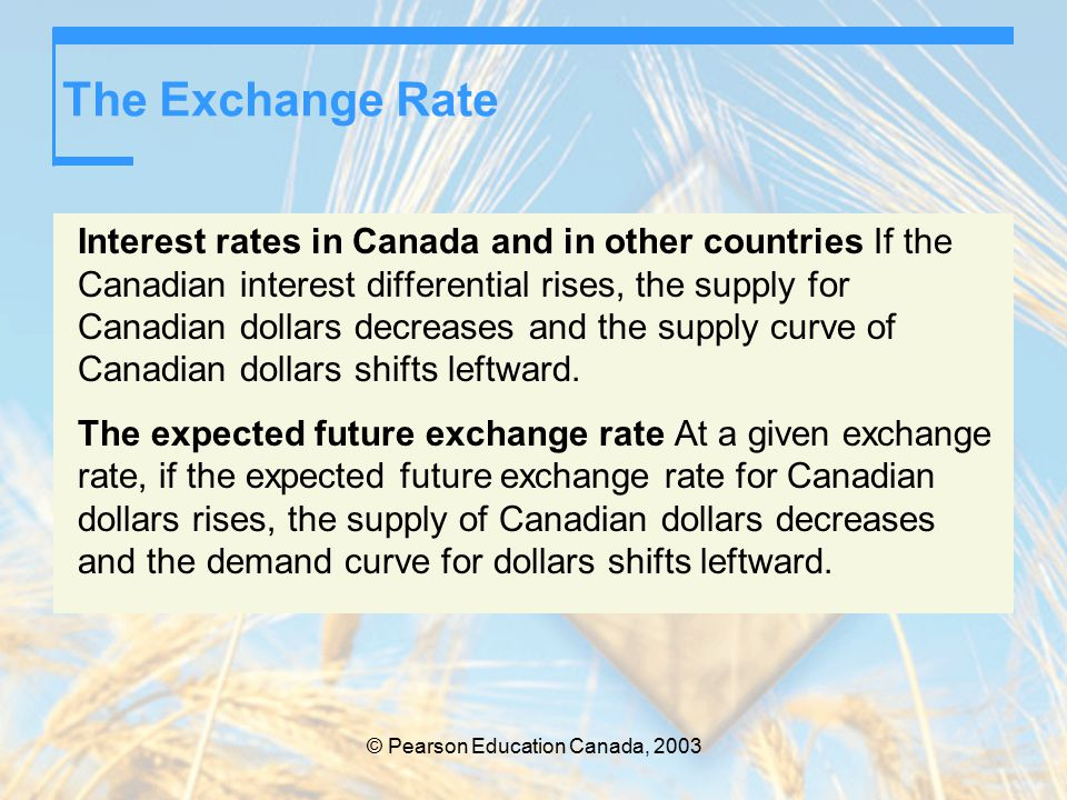 © Pearson Education Canada, 2003 The Exchange Rate Interest rates in Canada and in other countries If the Canadian interest differential rises, the supply for Canadian dollars decreases and the supply curve of Canadian dollars shifts leftward.