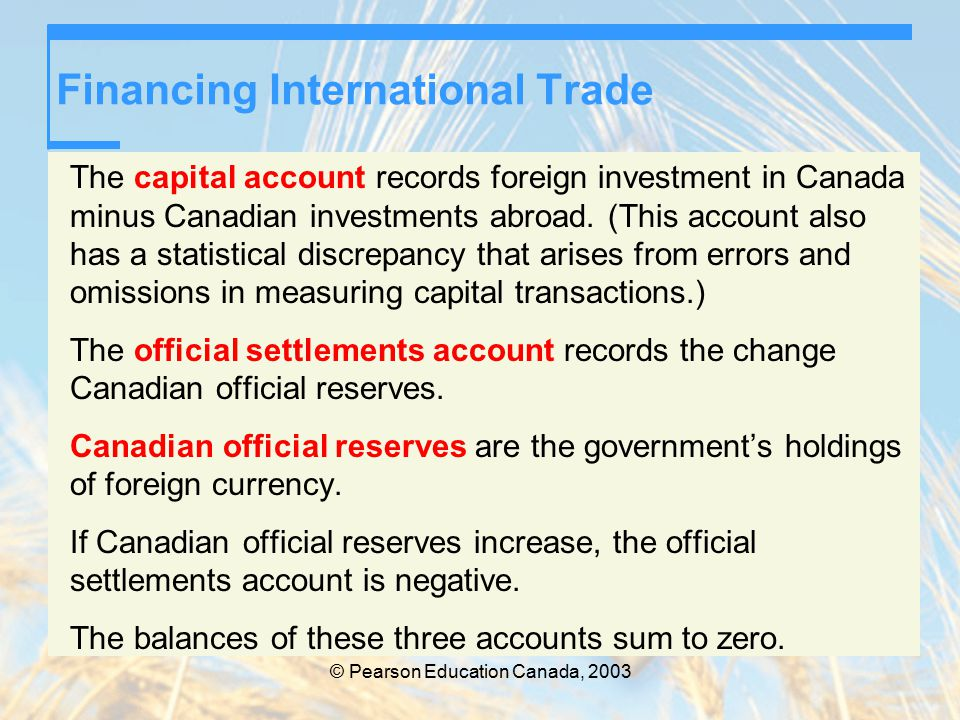 © Pearson Education Canada, 2003 Financing International Trade The capital account records foreign investment in Canada minus Canadian investments abroad.