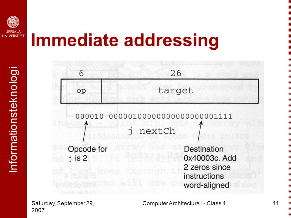Informationsteknologi Saturday, September 29, 2007 Computer Architecture I - Class 411 Immediate addressing