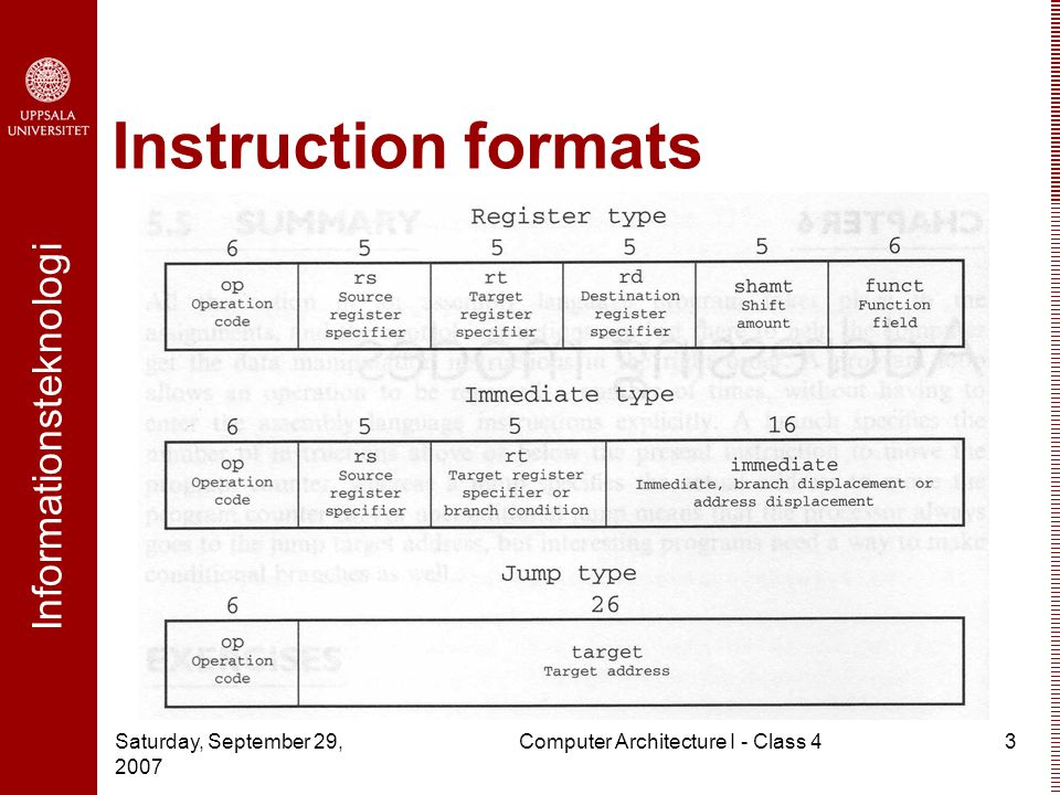 Informationsteknologi Saturday, September 29, 2007 Computer Architecture I - Class 43 Instruction formats