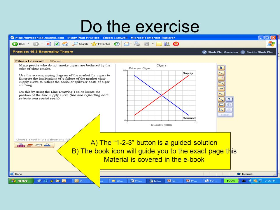 Do the exercise A) The button is a guided solution B) The book icon will guide you to the exact page this Material is covered in the e-book