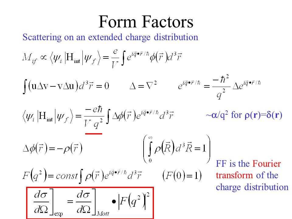 Form Factors Scattering on an extended charge distribution FF is the Fourier transform of the charge distribution ~  /q 2 for  (r)=  (r)
