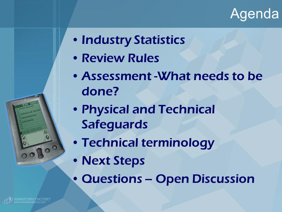 Agenda Industry Statistics Review Rules Assessment -What needs to be done.