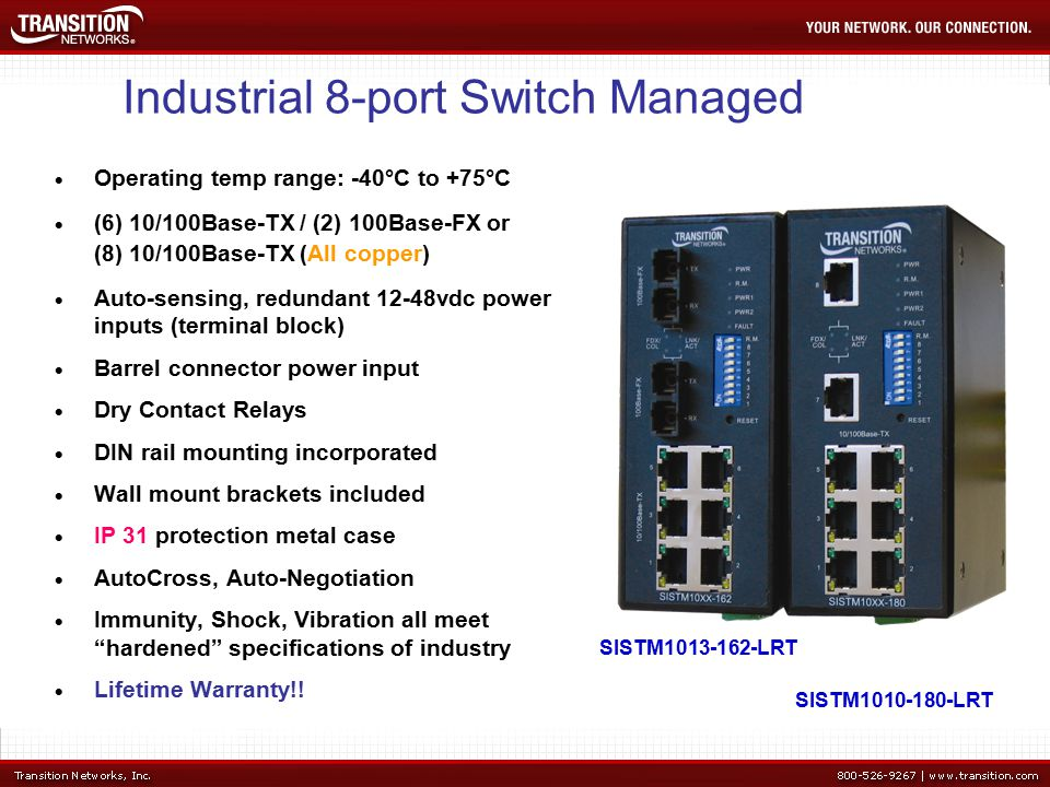 Industrial 8-port Switch Managed  Operating temp range: -40°C to +75°C  (6) 10/100Base-TX / (2) 100Base-FX or (8) 10/100Base-TX (All copper)  Auto-sensing, redundant 12-48vdc power inputs (terminal block)  Barrel connector power input  Dry Contact Relays  DIN rail mounting incorporated  Wall mount brackets included  IP 31 protection metal case  AutoCross, Auto-Negotiation  Immunity, Shock, Vibration all meet hardened specifications of industry  Lifetime Warranty!.