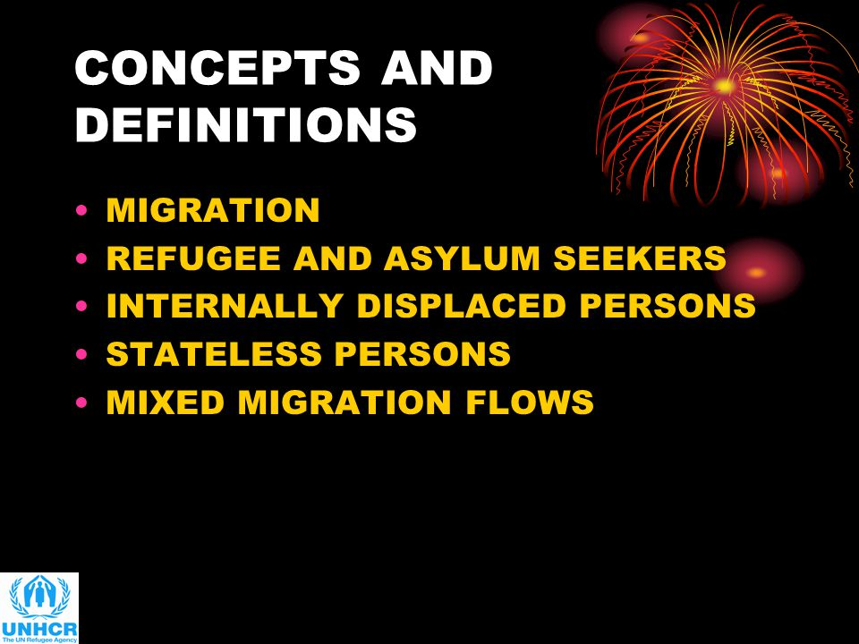 CONCEPTS AND DEFINITIONS MIGRATION REFUGEE AND ASYLUM SEEKERS INTERNALLY DISPLACED PERSONS STATELESS PERSONS MIXED MIGRATION FLOWS
