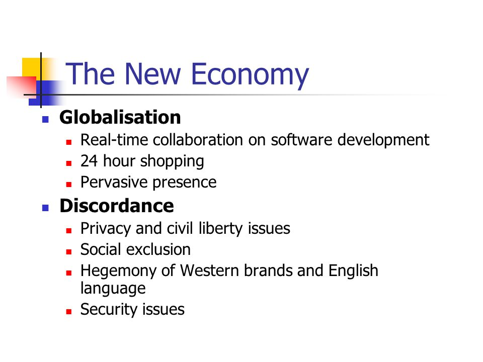 The New Economy Globalisation Real-time collaboration on software development 24 hour shopping Pervasive presence Discordance Privacy and civil liberty issues Social exclusion Hegemony of Western brands and English language Security issues