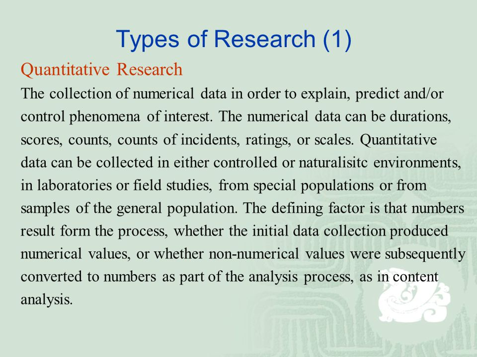 writing medical research papers in english the perspective of a  types of research 1 quantitative research the collection of numerical data in order to