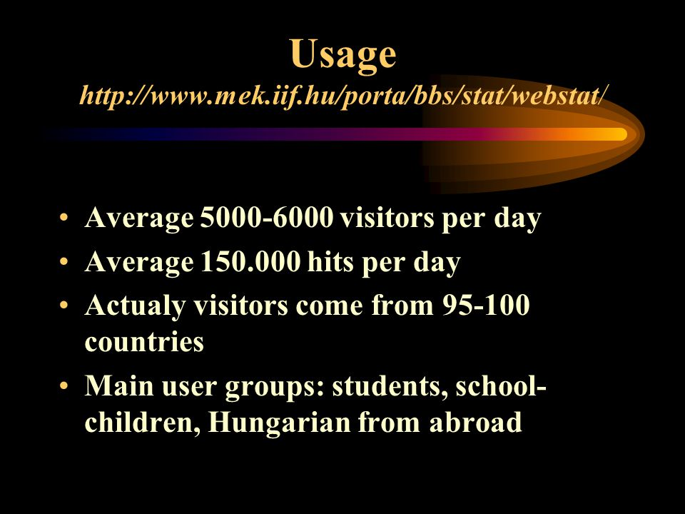 Usage   Average visitors per day Average hits per day Actualy visitors come from countries Main user groups: students, school- children, Hungarian from abroad
