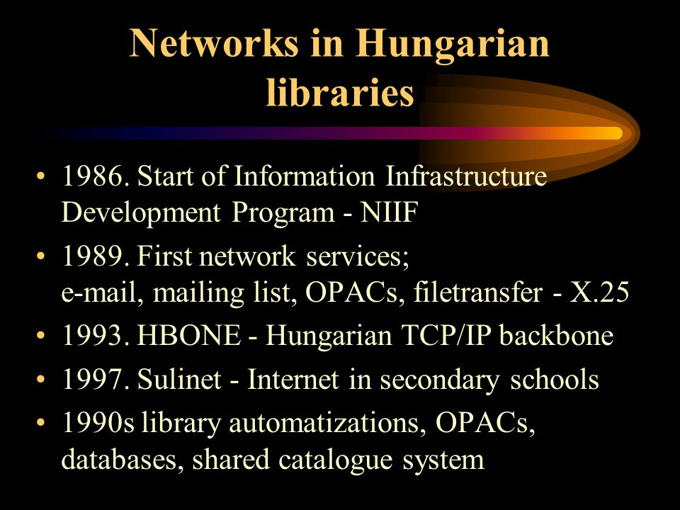Networks in Hungarian libraries 1986.