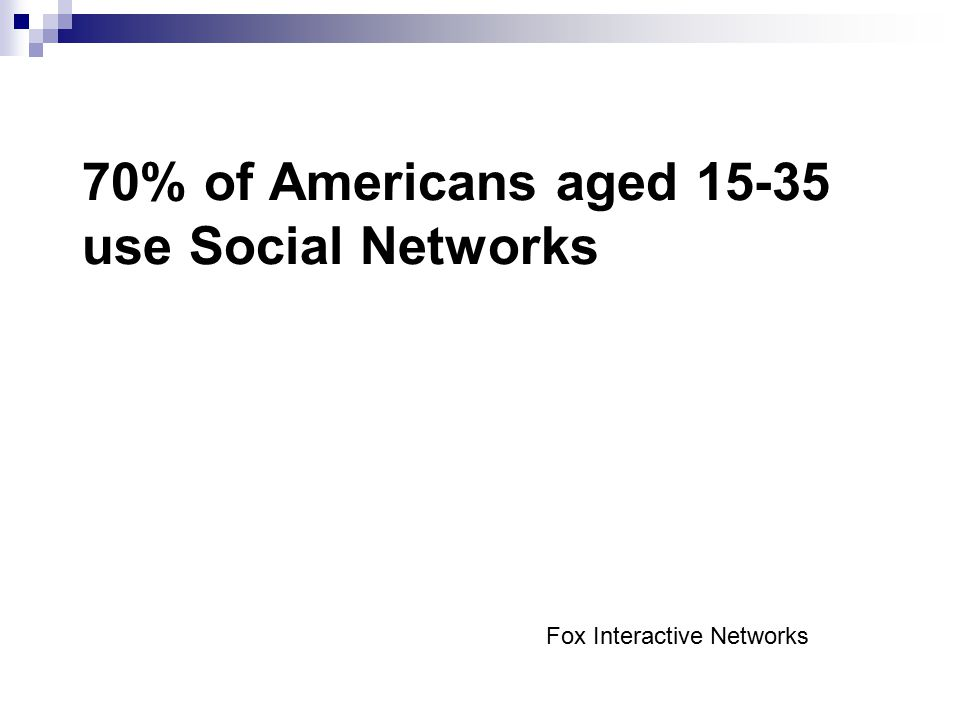 70% of Americans aged use Social Networks Fox Interactive Networks