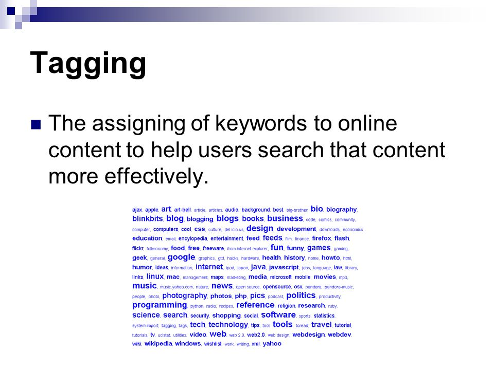 Tagging The assigning of keywords to online content to help users search that content more effectively.