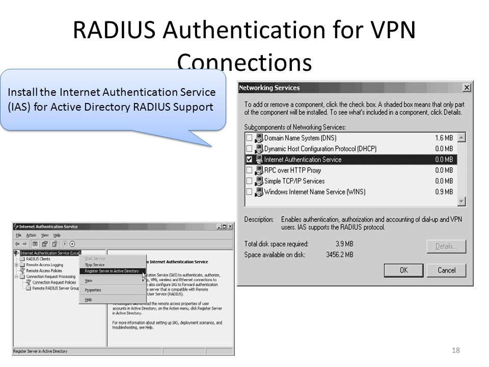 18 RADIUS Authentication for VPN Connections Install the Internet Authentication Service (IAS) for Active Directory RADIUS Support