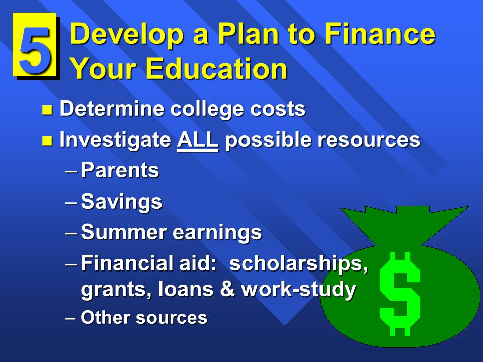 Develop a Plan to Finance Your Education n Determine college costs n Investigate ALL possible resources –Parents –Savings –Summer earnings –Financial aid: scholarships, grants, loans & work-study –Other sources 5