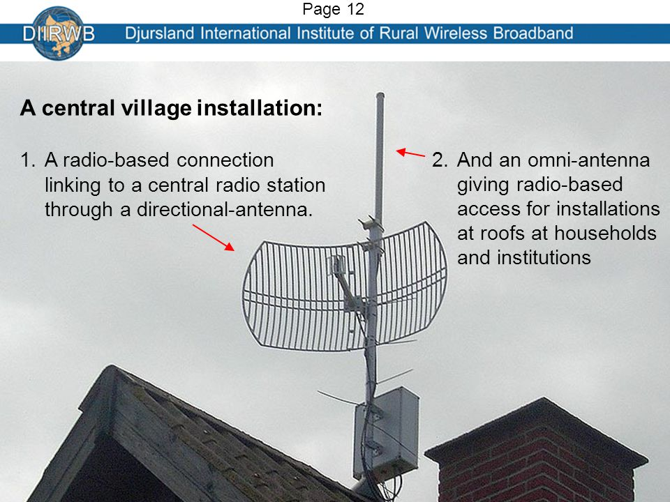 A central village installation: 1.A radio-based connection linking to a central radio station through a directional-antenna.