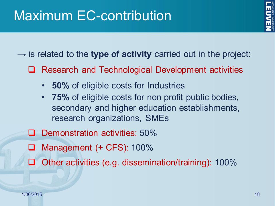 Maximum EC-contribution → is related to the type of activity carried out in the project:  Research and Technological Development activities 50% of eligible costs for Industries 75% of eligible costs for non profit public bodies, secondary and higher education establishments, research organizations, SMEs  Demonstration activities: 50%  Management (+ CFS): 100%  Other activities (e.g.