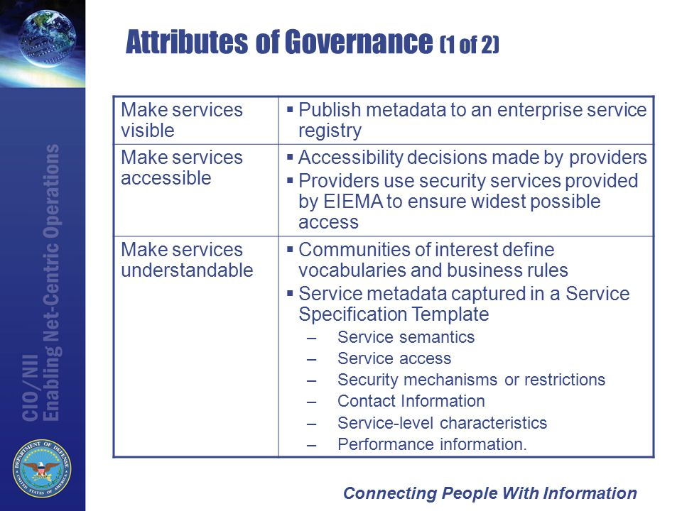 Connecting People With Information Attributes of Governance (1 of 2) Make services visible  Publish metadata to an enterprise service registry Make services accessible  Accessibility decisions made by providers  Providers use security services provided by EIEMA to ensure widest possible access Make services understandable  Communities of interest define vocabularies and business rules  Service metadata captured in a Service Specification Template –Service semantics –Service access –Security mechanisms or restrictions –Contact Information –Service-level characteristics –Performance information.