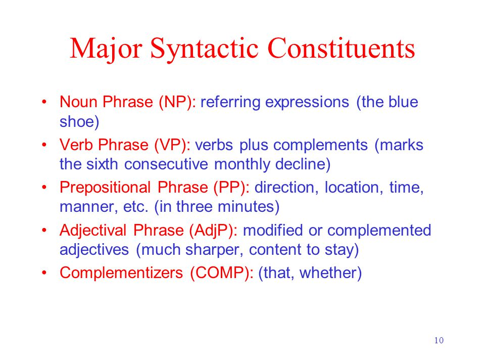 10 Major Syntactic Constituents Noun Phrase (NP): referring expressions (the blue shoe) Verb Phrase (VP): verbs plus complements (marks the sixth consecutive monthly decline) Prepositional Phrase (PP): direction, location, time, manner, etc.