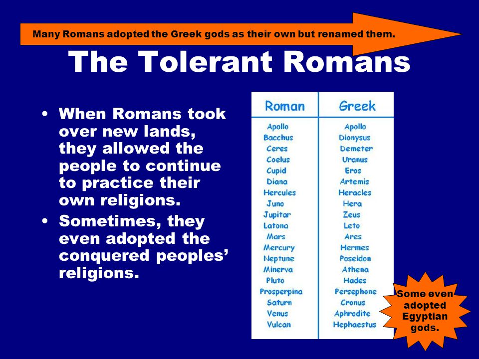 The Tolerant Romans When Romans took over new lands, they allowed the people to continue to practice their own religions.