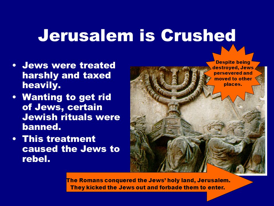 Jerusalem is Crushed Jews were treated harshly and taxed heavily.