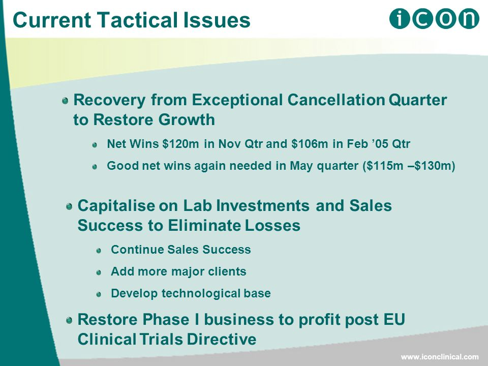 Current Tactical Issues Recovery from Exceptional Cancellation Quarter to Restore Growth Net Wins $120m in Nov Qtr and $106m in Feb '05 Qtr Good net wins again needed in May quarter ($115m –$130m)   Capitalise on Lab Investments and Sales Success to Eliminate Losses Continue Sales Success Add more major clients Develop technological base Restore Phase I business to profit post EU Clinical Trials Directive