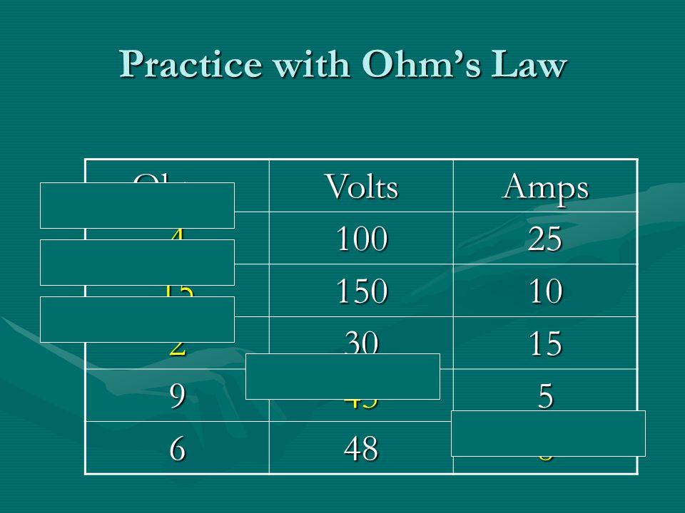 Ohm's Law Resistance = Voltage / CurrentResistance = Voltage / Current Ohms = Volts / AmpsOhms = Volts / Amps