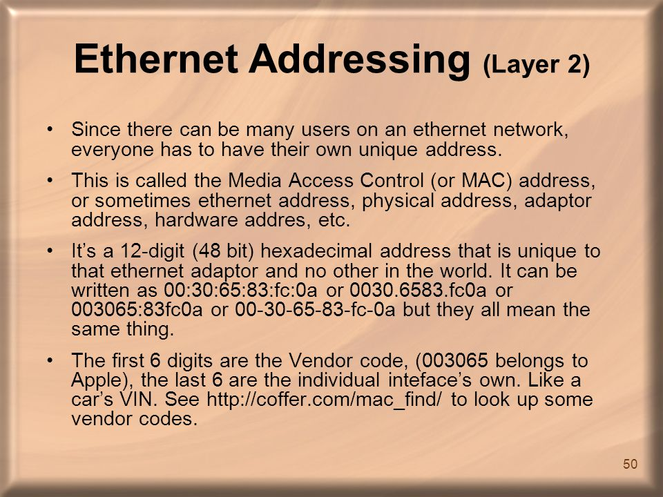 ethernet addres: