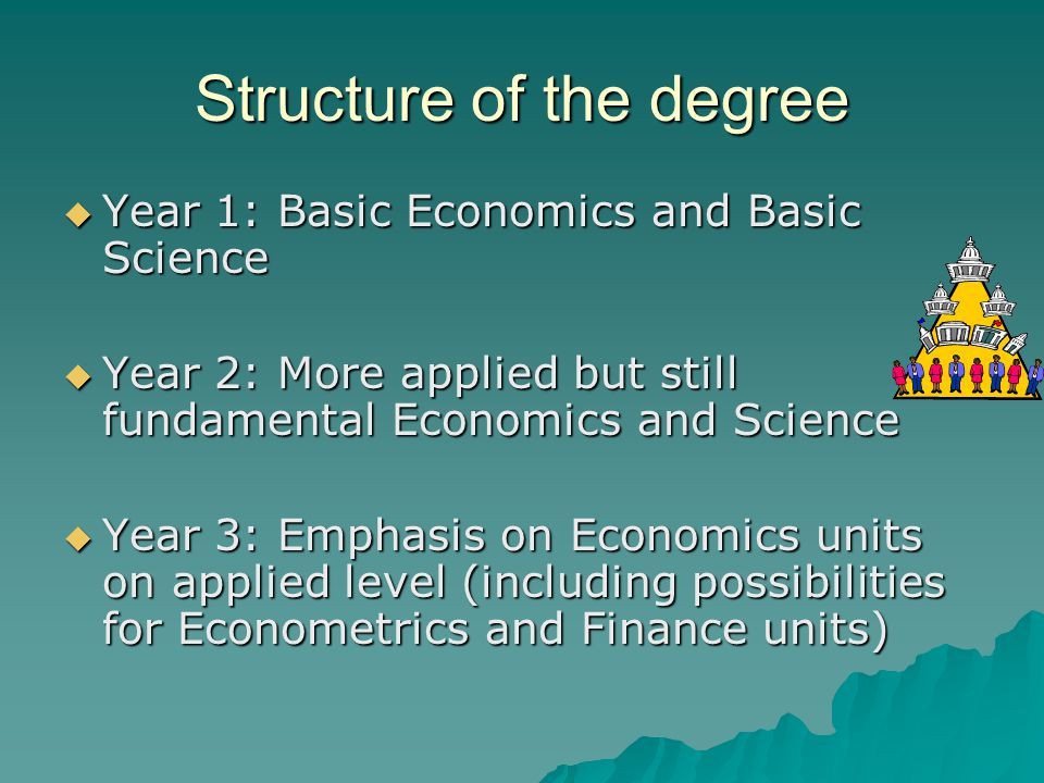 Structure of the degree  Year 1: Basic Economics and Basic Science  Year 2: More applied but still fundamental Economics and Science  Year 3: Emphasis on Economics units on applied level (including possibilities for Econometrics and Finance units)