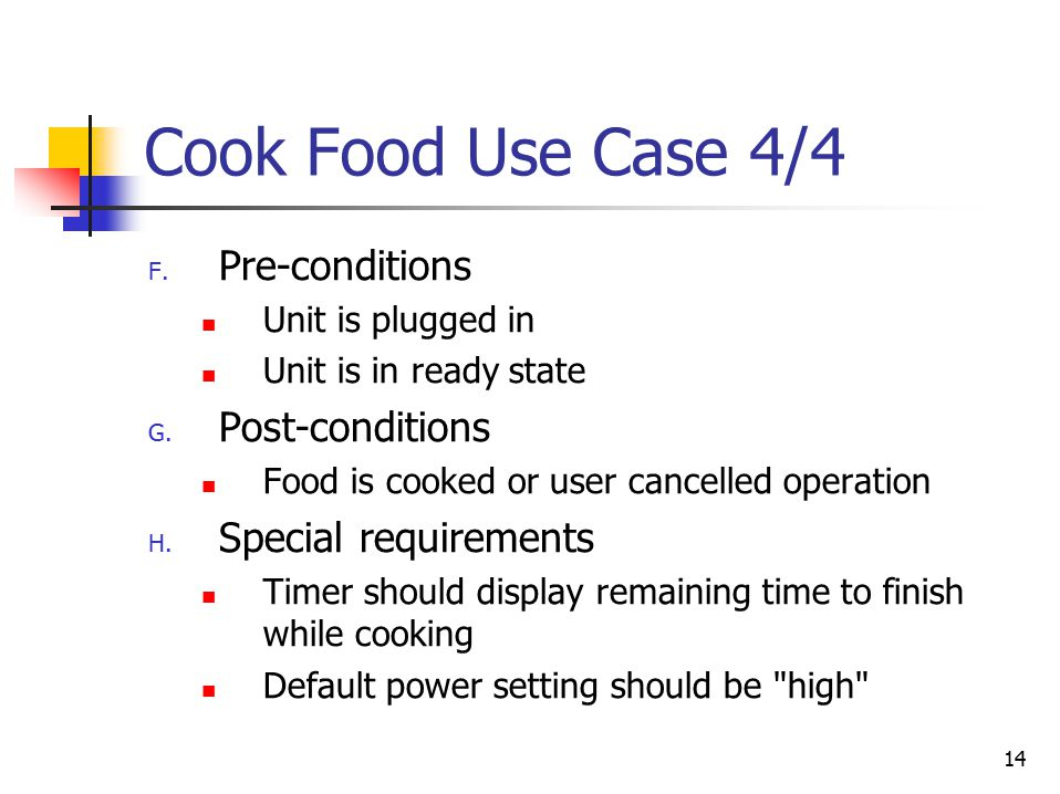14 Cook Food Use Case 4/4 F. Pre-conditions Unit is plugged in Unit is in ready state G.