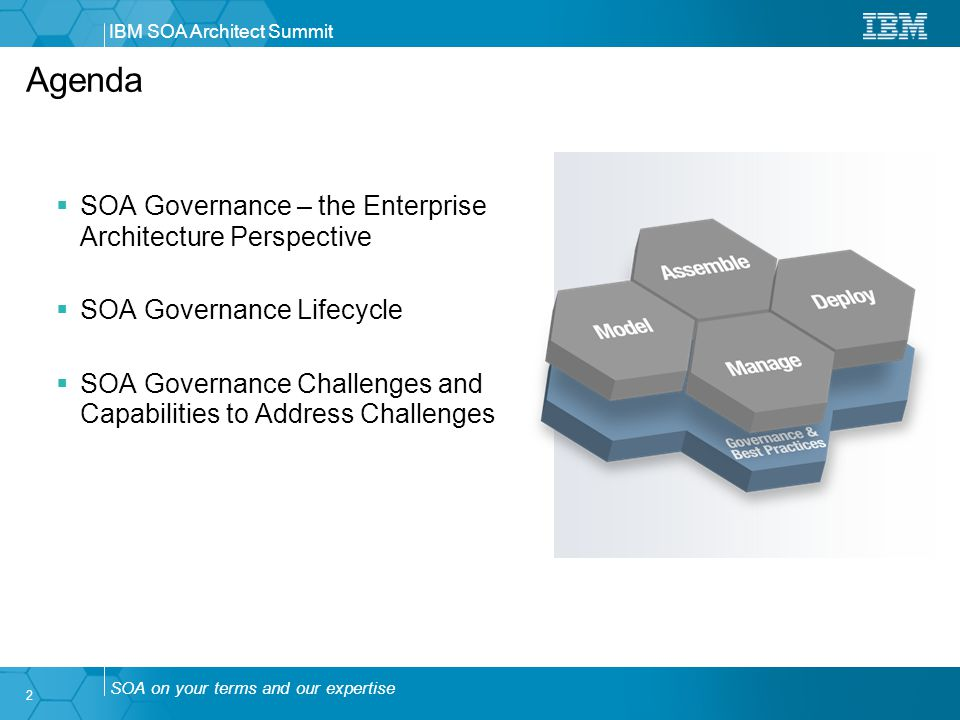 SOA on your terms and our expertise IBM SOA Architect Summit 2  SOA Governance – the Enterprise Architecture Perspective  SOA Governance Lifecycle  SOA Governance Challenges and Capabilities to Address Challenges Agenda