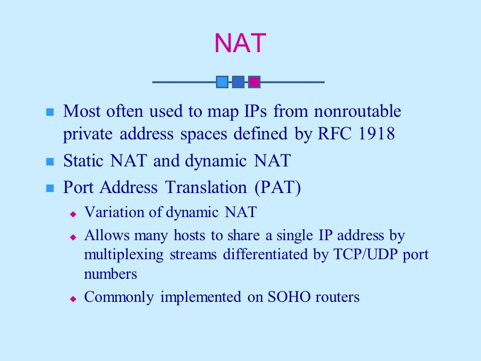 NAT Most often used to map IPs from nonroutable private address spaces defined by RFC 1918 Static NAT and dynamic NAT Port Address Translation (PAT)  Variation of dynamic NAT  Allows many hosts to share a single IP address by multiplexing streams differentiated by TCP/UDP port numbers  Commonly implemented on SOHO routers