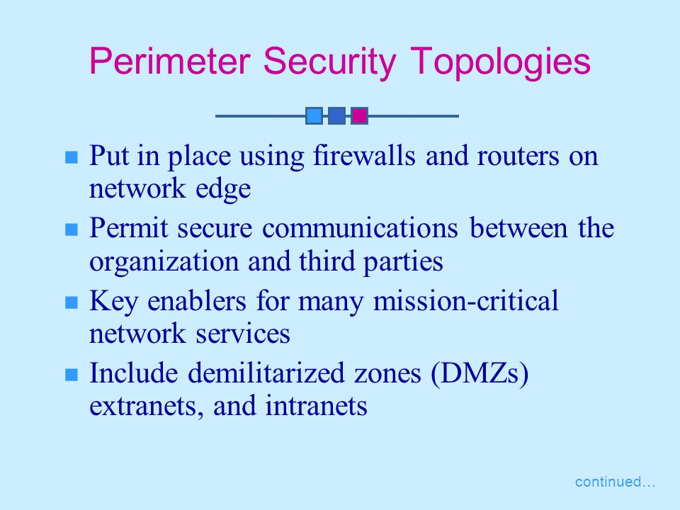 Perimeter Security Topologies Put in place using firewalls and routers on network edge Permit secure communications between the organization and third parties Key enablers for many mission-critical network services Include demilitarized zones (DMZs) extranets, and intranets continued…