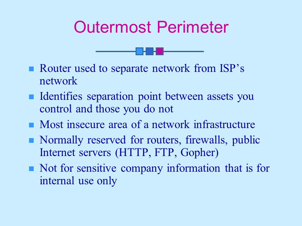 Outermost Perimeter Router used to separate network from ISP's network Identifies separation point between assets you control and those you do not Most insecure area of a network infrastructure Normally reserved for routers, firewalls, public Internet servers (HTTP, FTP, Gopher) Not for sensitive company information that is for internal use only