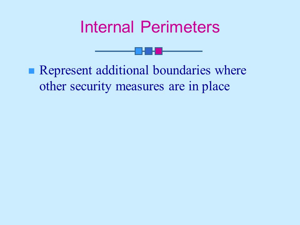 Internal Perimeters Represent additional boundaries where other security measures are in place