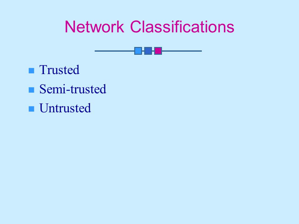 Network Classifications Trusted Semi-trusted Untrusted