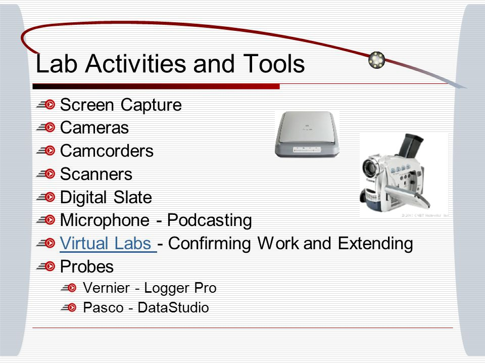 Lab Activities and Tools Screen Capture Cameras Camcorders Scanners Digital Slate Microphone - Podcasting Virtual Labs Virtual Labs - Confirming Work and Extending Probes Vernier - Logger Pro Pasco - DataStudio