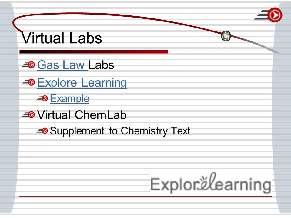 Virtual Labs Gas Law Gas Law Labs Explore Learning Example Virtual ChemLab Supplement to Chemistry Text