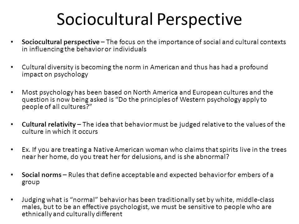 What is an example of sociocultural perspective