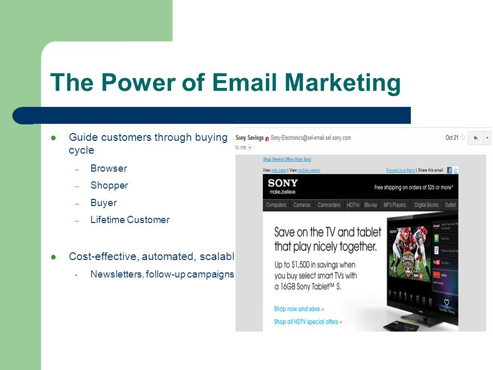 The Power of  Marketing Guide customers through buying cycle – Browser – Shopper – Buyer – Lifetime Customer Cost-effective, automated, scalable Newsletters, follow-up campaigns