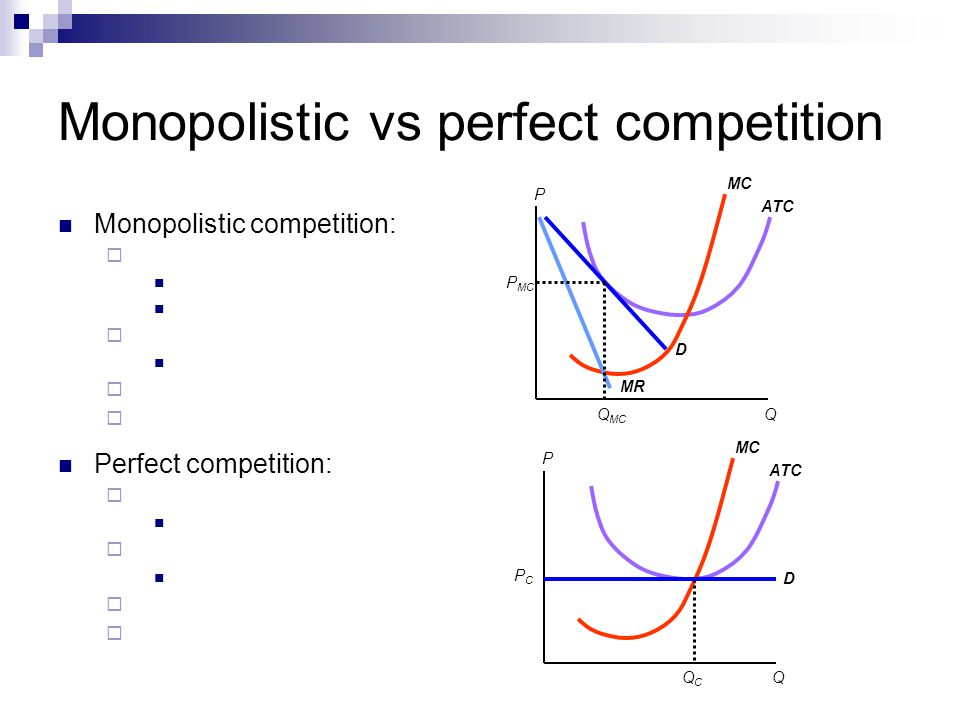 Monopolistic vs perfect competition P Q ATC MC Q MC P MC D MR P Q ATC MC QCQC PCPC D Perfect competition: Monopolistic competition: