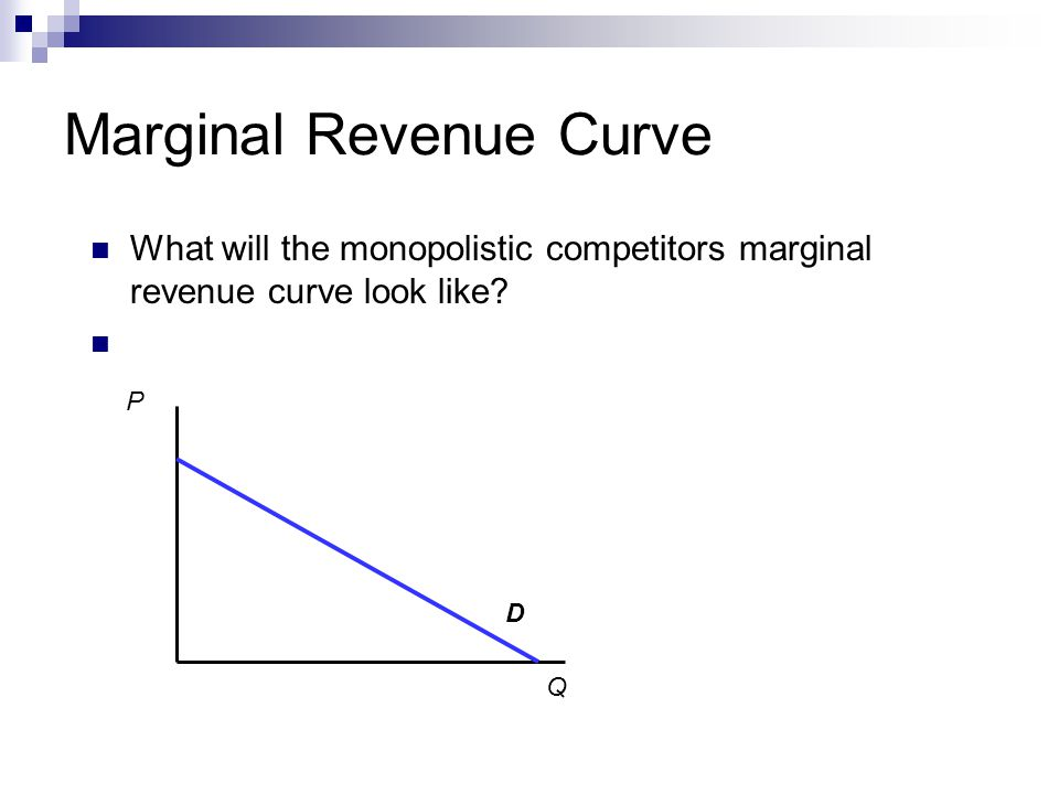 Marginal Revenue Curve What will the monopolistic competitors marginal revenue curve look like.