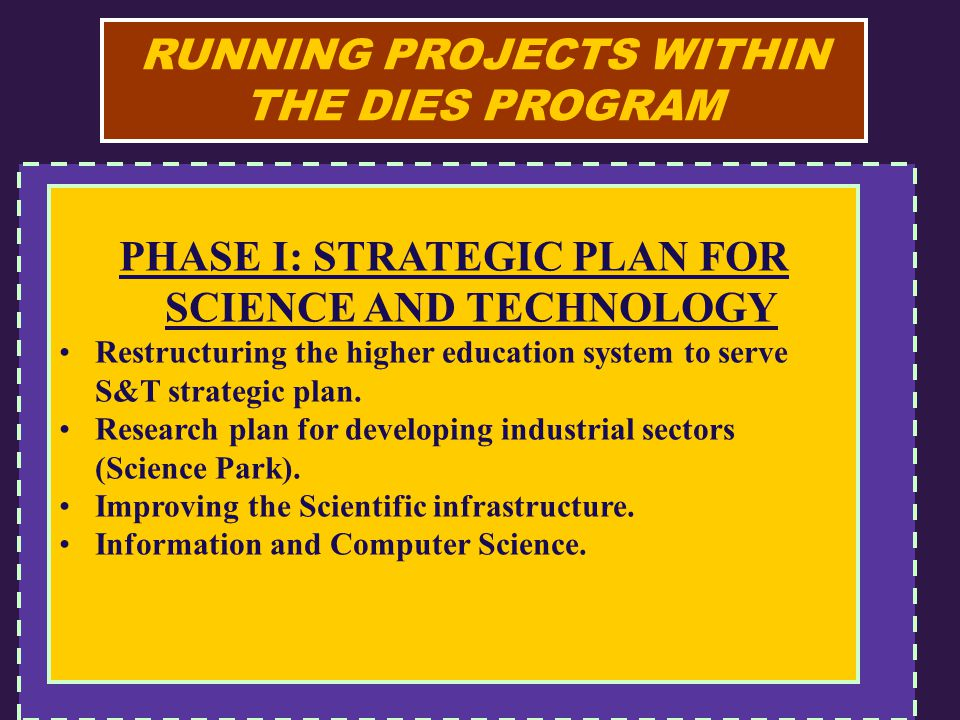 RUNNING PROJECTS WITHIN THE DIES PROGRAM PHASE I: STRATEGIC PLAN FOR SCIENCE AND TECHNOLOGY Restructuring the higher education system to serve S&T strategic plan.