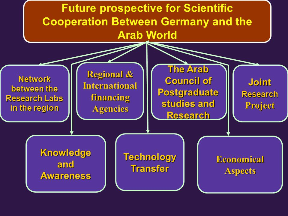 Future prospective for Scientific Cooperation Between Germany and the Arab World Joint Research Project The Arab Council of Postgraduate studies and Research Regional & International financing Agencies Network between the Research Labs in the region Economical Aspects Technology Transfer Knowledge and Awareness