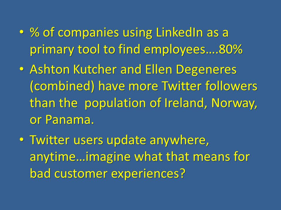 % of companies using LinkedIn as a primary tool to find employees….80% % of companies using LinkedIn as a primary tool to find employees….80% Ashton Kutcher and Ellen Degeneres (combined) have more Twitter followers than the population of Ireland, Norway, or Panama.