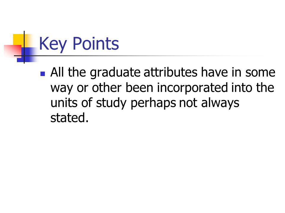 Key Points All the graduate attributes have in some way or other been incorporated into the units of study perhaps not always stated.