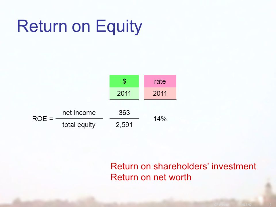 07 Winter Return on Equity rate$ 2, total equity 14% net income ROE = 2011 Return on shareholders' investment Return on net worth